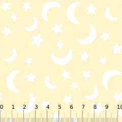 Tricoline Baby Lunar Composê Luas e Estrelas - Amarelo