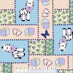 Tricoline Patchwork Zebrinhas - Azul