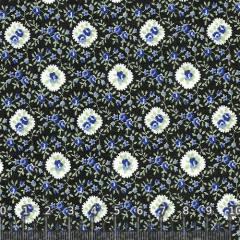 Tecido Tricoline Floral Black Blue