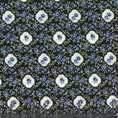 Tricoline Floral Black Blue (Largura: 1,50 m)