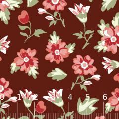 Tricoline Floral Delicatte - Marrom (Largura: 1,50 m)