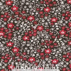 Tecido Tricoline Largo Floral Tina - Marrom - 100% Algodão - Largura 1,60m