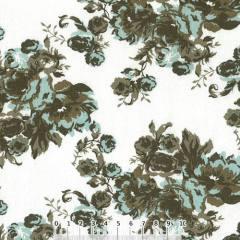 Tecido Tricoline Largo Floral Capela - Oliva - 100% Algodão - Largura 1,60m