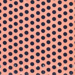 Tecido Tricoline Poá Party Color - Coral c/ Azul Marinho