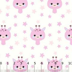 Tricoline Baby Lunar Girafinhas - Rosa