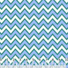 Tecido Tricoline Chevron Pan - Azul - 100% Algodão - Largura 1,50m
