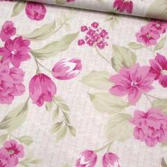 Percal 130 Fios Estampado - Floral Riscado - Rosa