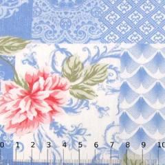 Percal 130 Fios Estampado - Floral Molduras - Azul