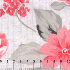 Percal 130 Fios Estampado - Floral Riscado - Vermelho