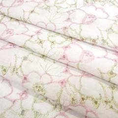 Tecido Lese Bordada Cores Flores - Rosa (Largura 1,35 m)