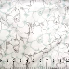 Tecido Lese Bordada Cores Flores - Verde - 100% Algodão - Largura 1,35m