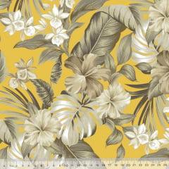 Tecido Impermeável Acquablock® Karsten - Maui Amarelo - 72% Algodão 28% Poliéster - Largura 1,40m