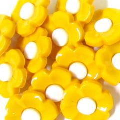 Botão Infantil Flor - Amarelo (12 unidades)