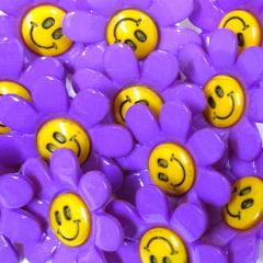 Botão Infantil Florzinhas Felizes - Lilás (12 unidades)