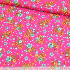 Tecido Chita Floral Arlos - Rosa Pink - 100% Algodão - Largura 1,40m
