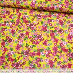 Tecido Chita Floral Biarritz - Amarelo - 100% Algodão - Largura 1,40m