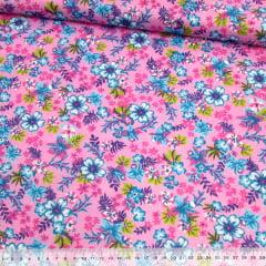 Tecido Chita Floral Biarritz - Rosa