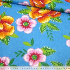 Tecido Chita Floral Blois - Azul - 100% Algodão - Largura 1,40m