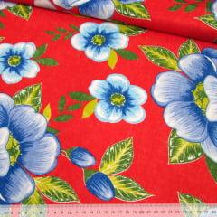 Tecido Chita Floral Blois - Vermelho - 100% Algodão - Largura 1,40m