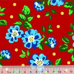 Tecido Chita Floral Cagliari - Vermelho - 100% Algodão - Largura 1,40m