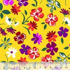 Tecido Chita Floral Cannes - Amarelo - 100% Algodão - Largura 1,40m