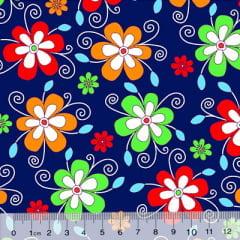 Tecido Chita Floral Cassis - Azul Marinho