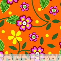 Tecido Chita Floral Colmar - Laranja
