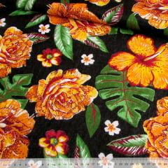 Tecido Chita Floral Dijon - Preto - 100% Algodão - Largura 1,40m