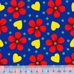 Tecido Chita Floral Lourdes - Azul - 100% Algodão - Largura 1,40m