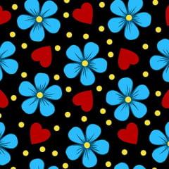 Tecido Chita Floral Lourdes - Preto - 100% Algodão - Largura 1,40m