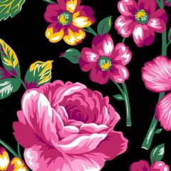 Tecido Chita Floral Ravello - Preto - 100% Algodão - Largura 1,40m