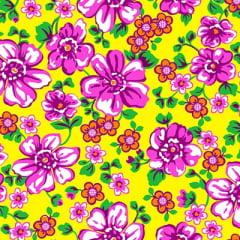Tecido Chita Floral Rochelle - Amarelo - 100% Algodão - Largura 1,40m