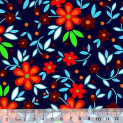 Tecido Chita Floral Toulouse - Azul Marinho