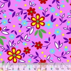 Tecido Chita Floral Toulouse - Rosa - 100% Algodão - Largura 1,40m