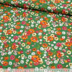 Tecido Chita Floral Véria - Verde - 100% Algodão - Largura 1,40m