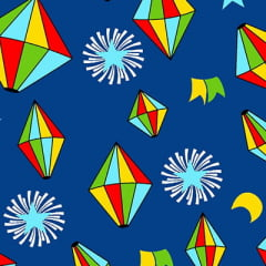 Tecido Chita Juninos Balões - Azul Marinho - 100% Algodão - Largura 1,40m
