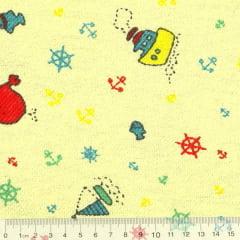 Tecido Flanela Estampa Infantil - Barquinhos - Fundo Amarelo - 100% Algodão - Largura: 80cm