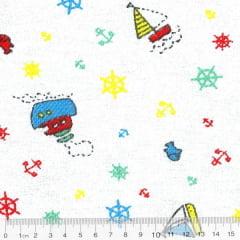 Tecido Flanela Estampa Infantil - Barquinhos - Fundo Branco - 100% Algodão - Largura: 80cm