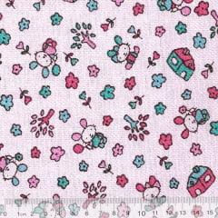 Tecido Flanela Estampa Infantil - Coelhinho Fofo - Fundo Rosa - 100% Algodão - Largura: 80cm
