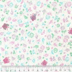 Tecido Flanela Estampa Infantil - Floral Borboletas - Fundo Branco - 100% Algodão - Largura: 80cm