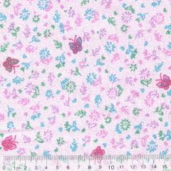 Tecido Flanela Estampa Infantil - Floral Borboletas - Fundo Rosa - 100% Algodão - Largura: 80cm