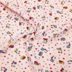 Tecido Flanela Estampa Infantil - Little Dog - Fundo Rosa - 100% Algodão - Largura: 80cm