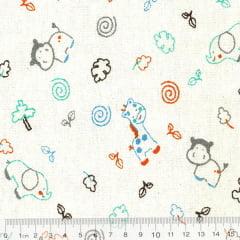 Tecido Flanela Estampa Infantil - Safári - Fundo Branco (Largura: 80 cm)