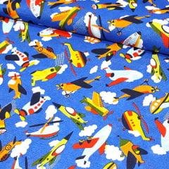 Tecido Gorgurinho Decor Light Basic - Aviões Kids - 100% Poliéster - Largura 1,40m
