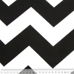 Tecido Gorgurinho Decor Light Basic - Chevron Preto e Branco - 100% Poliéster - Largura 1,40m