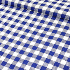 Tecido Gorgurinho Decor Light Basic - Xadrez Azul - 100% Poliéster - Largura 1,40m