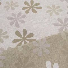Jacquard Decor Dupla Face - Flor Bloom - Bege e Branco