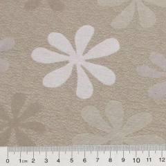 Tecido Jacquard Decor Dupla Face - Flor Bloom - Bege e Branco