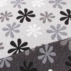 Jacquard Decor Dupla Face - Flor Bloom - Preto e Branco