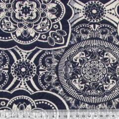 Tecido Jacquard Decor Dupla Face - Mandala - Azul Marinho